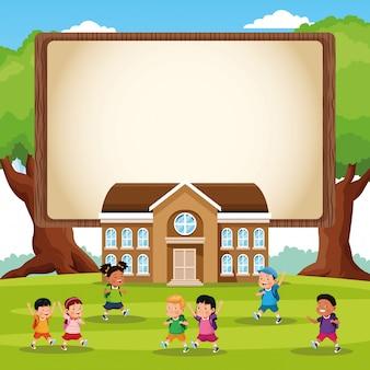 Terug naar school kinderen cartoon