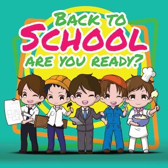 Terug naar school. kinderen in pak.