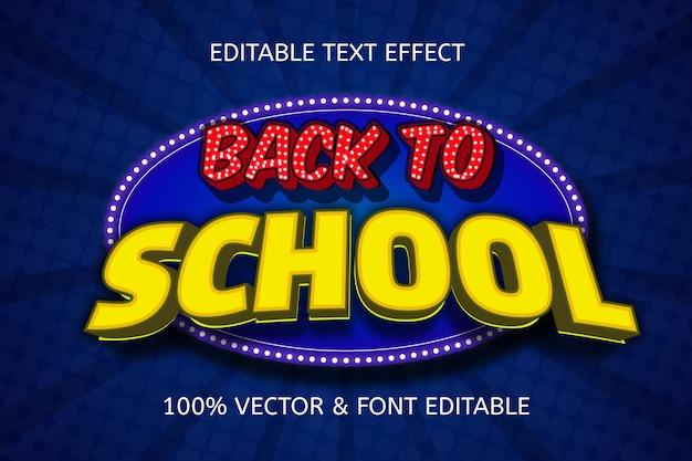 Terug naar school kleur blauw geel bewerkbaar teksteffect