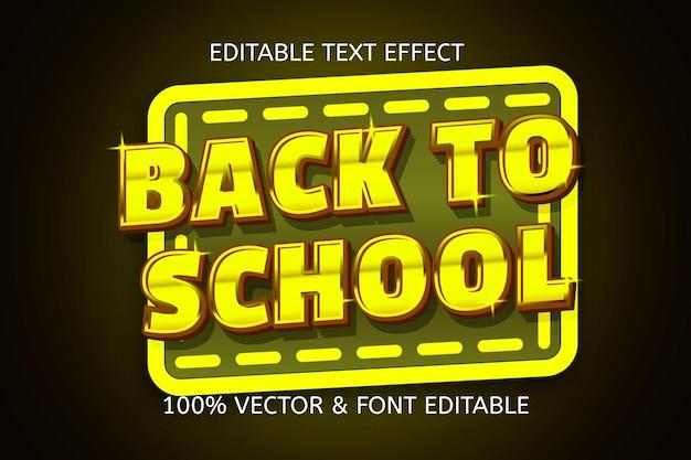 Terug naar school kleur goud bewerkbaar teksteffect