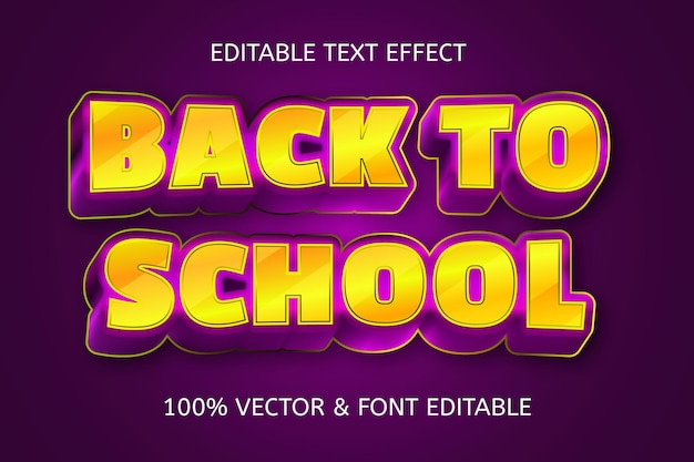Terug naar school kleur goud paars bewerkbaar teksteffect
