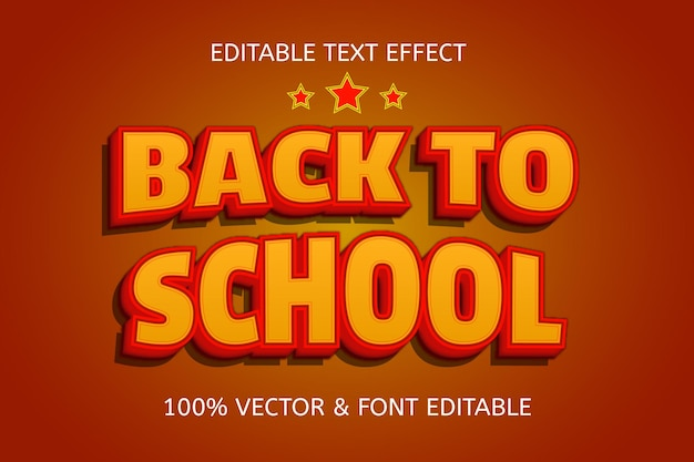 Terug naar school kleur oranje geel bewerkbaar teksteffect