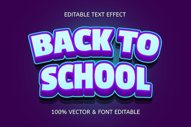 Terug naar school kleur paars blauw bewerkbaar teksteffect