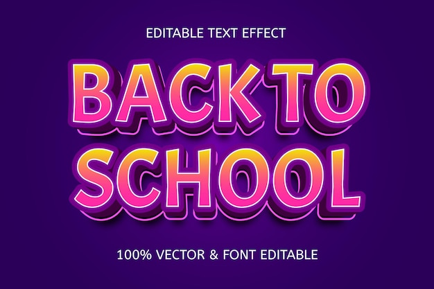 Terug naar school kleur paars geel bewerkbaar teksteffect