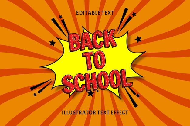 Terug naar school kleur rood bewerkbaar tekst effect Premium Vector