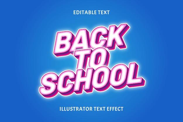 Terug naar school kleur wit bewerkbaar tekst effect