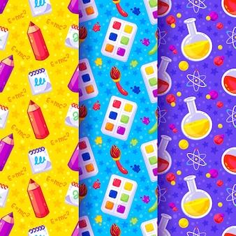 Terug naar school kleurpotloden en wetenschapspatroon