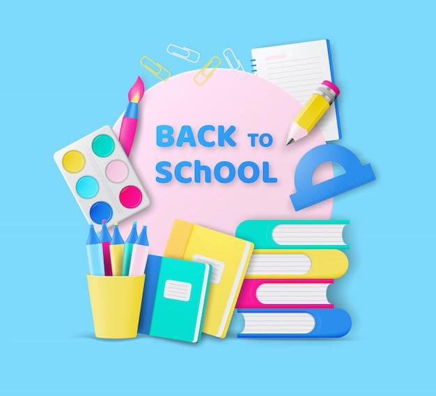 Terug naar school kleurrijk ontwerp met realistische kleurrijke voorwerpen voor onderwijs op school.