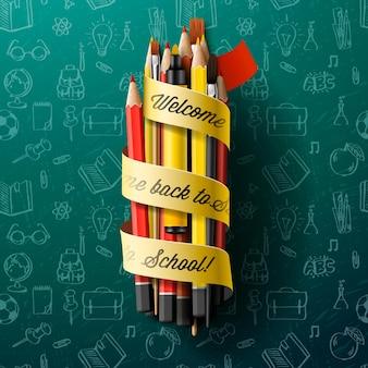 Terug naar school kleurrijke potloodkleurpotloden met tekst op lint vectorillustratie