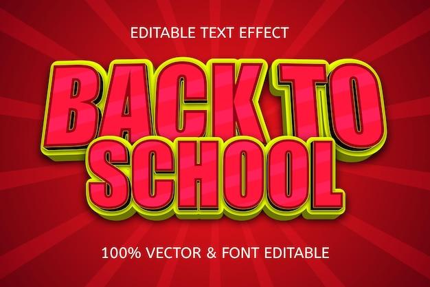 Terug naar school komisch bewerkbaar teksteffect school