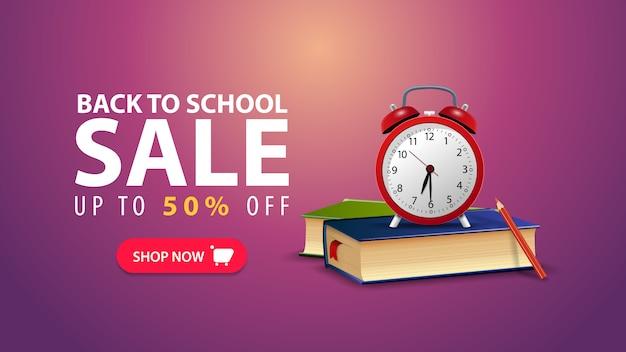 Terug naar school, korting webbanner in minimalistische stijl met schoolboeken en wekker