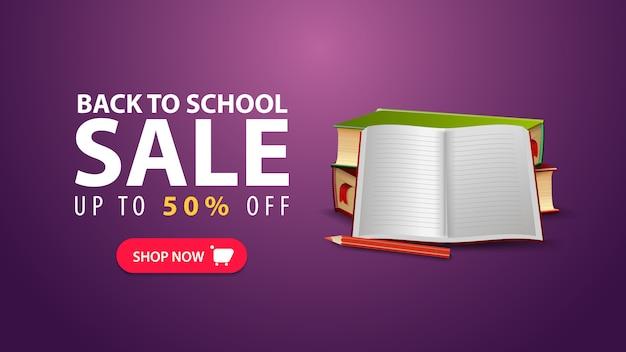Terug naar school, korting webbanner in minimalistische stijl met schoolboeken