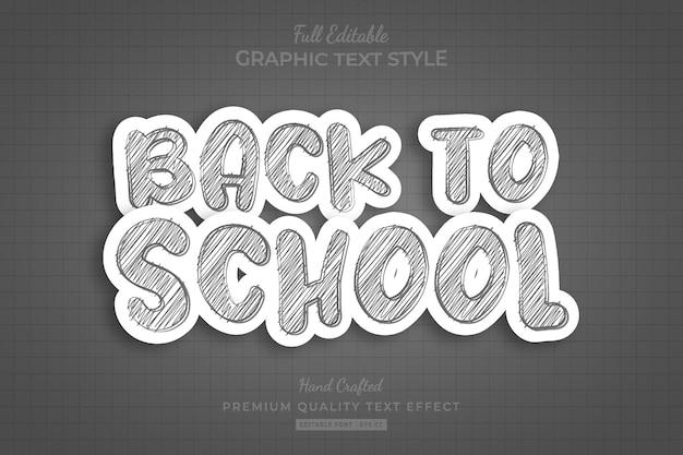 Terug naar school krabbelschets bewerkbare premium teksteffect lettertypestijl