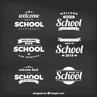 Terug naar school labelcollectie met platte ontwerp
