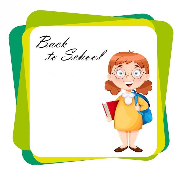 Terug naar school. leuk schoolmeisje
