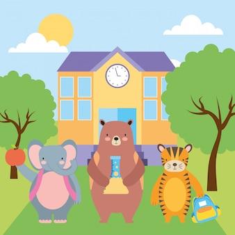 Terug naar school leuke dieren cartoons