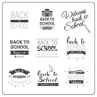 Terug naar school logo's set doodle hand getrokken label collectie