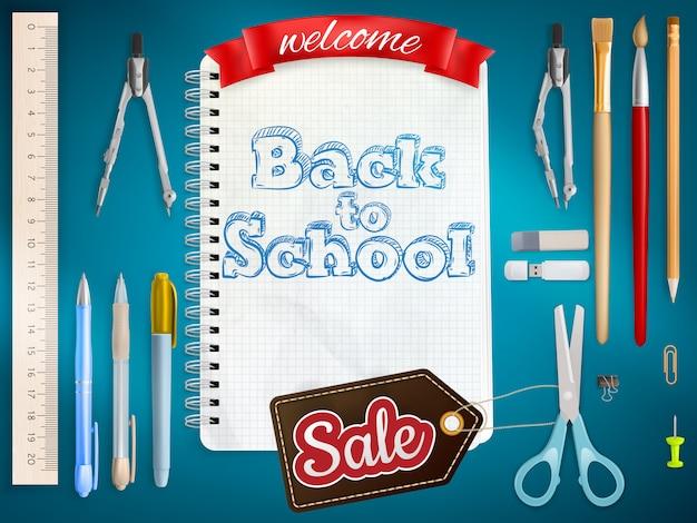 Terug naar school marketing achtergrond.