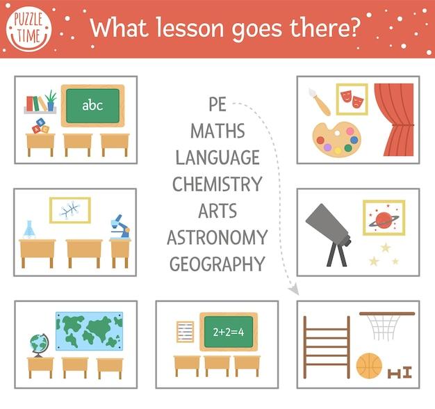 Terug naar school matching activiteit met schoolvakken. puzzel met verschillende klaslokalen. leuk les educatief raadsel. zoek het juiste woord afdrukbare werkblad. eenvoudig taalspel voor kinderen