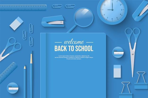 Terug naar school met blauw briefpapier en wit schrijven.