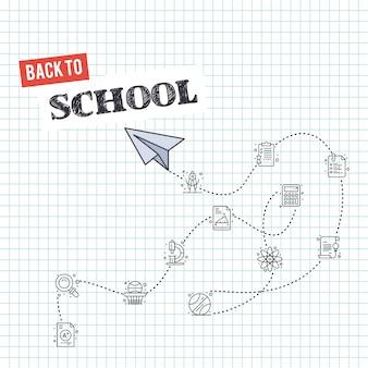 Terug naar school met elementen en papieren vliegtuigje