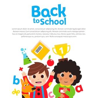 Terug naar school met gelukkige kinderen