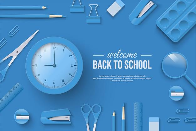 Terug naar school met illustraties van 3d-klok en anderen in blauw.