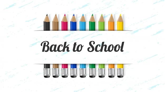 Terug naar school met kleurrijke potlood items