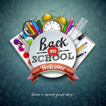 Terug naar school met kleurrijke potlood, schaar, liniaal en typografiebrief op schoolbord.