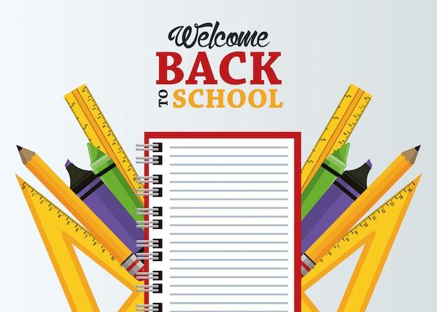 Terug naar school met notitieboekje en benodigdheden