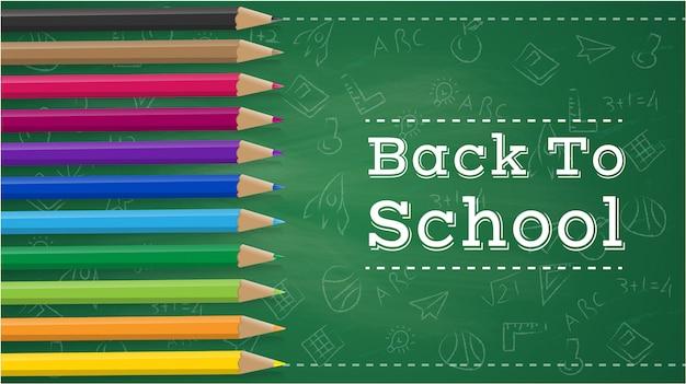 Terug naar school met potlood items en elementen