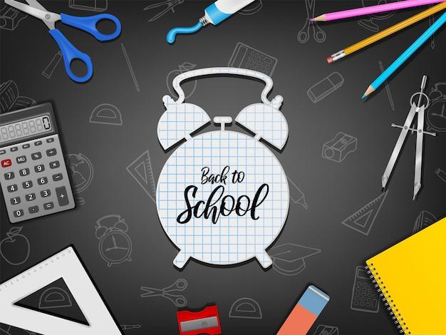 Terug naar school met realistische benodigdheden op schoolbord