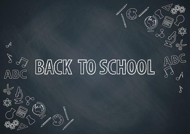 Terug naar school met schoolbord achtergrond vector