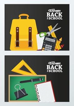 Terug naar school met schoolbord en schooltas set benodigdheden