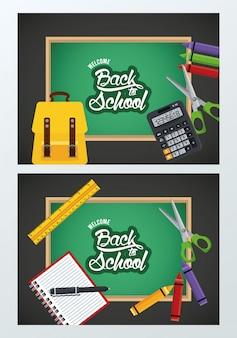 Terug naar school met schoolborden en benodigdheden