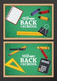 Terug naar school met schoolborden en items