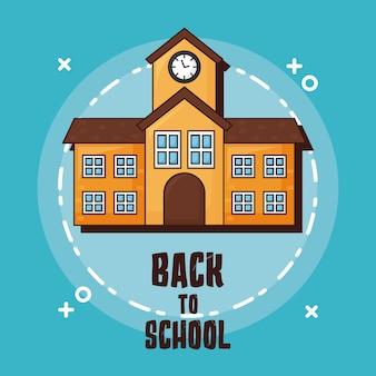 Terug naar school met schoolgebouw pictogram over blauwe achtergrond
