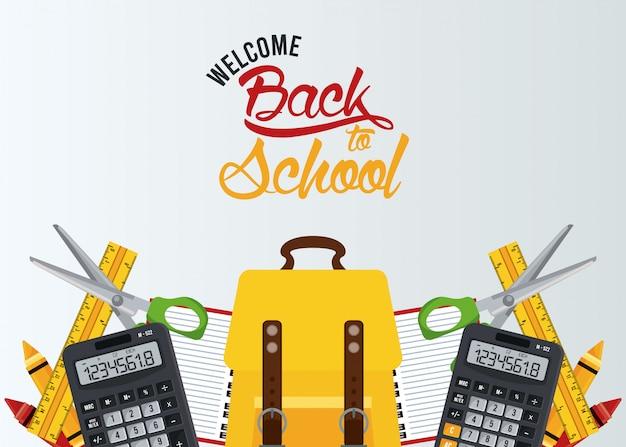 Terug naar school met schooltas en elementen