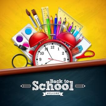 Terug naar school met wekker en kleurrijk potlood op geel