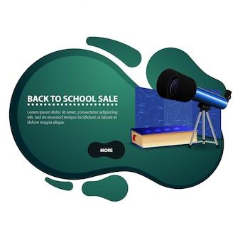 Terug naar school, moderne kortingsbanner in de vorm van vlotte lijnen voor uw zaken met telescoop