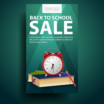 Terug naar school, moderne, modieuze verticale banner voor uw zaken met wekker