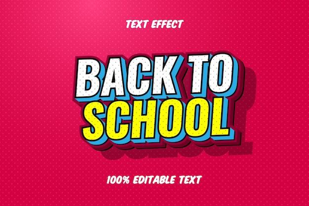 Terug naar school moderne stijl bewerkbaar teksteffect