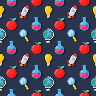 Terug naar school naadloos patroon. schoolspullen. onderwijsitems op blauw.