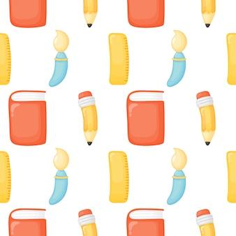 Terug naar school naadloos patroon. schoolspullen