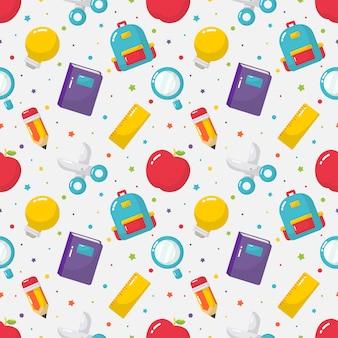 Terug naar school naadloos patroon. schoolspullen.