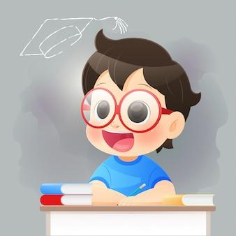 Terug naar school, naar school gaan, de jongen hoopt op succes voor de afgestudeerde