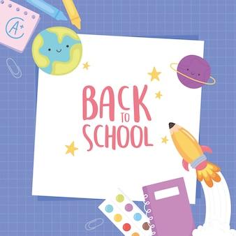 Terug naar school, notebook krijt potlood papier paarse raster achtergrond onderwijs cartoon
