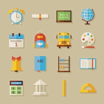 Terug naar school-objecten instellen met schaduw. vlakke stijl vectorillustraties. terug naar school. wetenschap en onderwijs set. verzameling van objecten op beige achtergrond