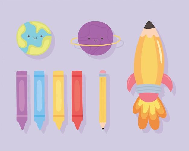 Terug naar school, onderwijs cartoon raket kleurpotloden en planeten pictogrammen