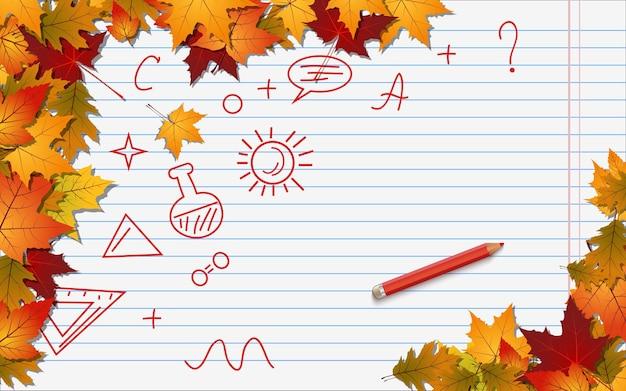 Terug naar school, onderwijs herfst stijl vector achtergrond